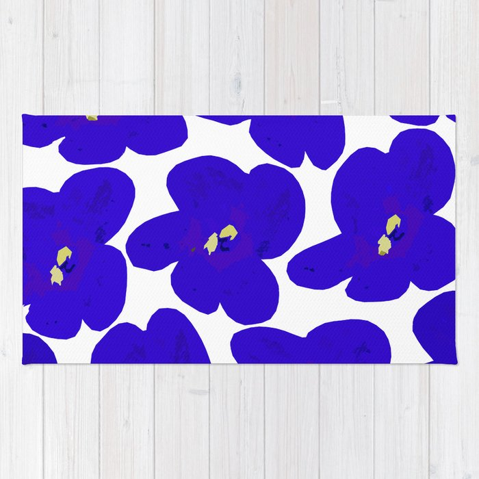 Blue Retro Flowers #decor #society6 #buyart Rug