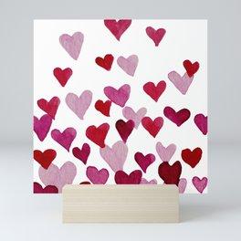 Valentine's Day Watercolor Hearts - pink Mini Art Print