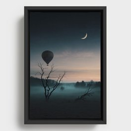 BALLOON RIDE TO THE MOON Framed Canvas
