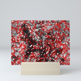 Red and Black Abstract Liquid Gore Pattern Mini Art Print