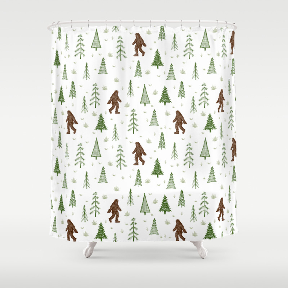 Trees + Yeti Pattern In Color Shower Curtain by Staceywalkeroldham CTN8597777