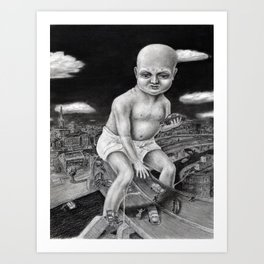 Attack of the Giant Baby - charcoal drawing Art Print