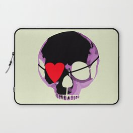 Pink skull with heart eyepatch Laptop Sleeve