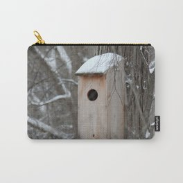 Bird House with Snow on the Roof Carry-All Pouch