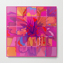Abstract Flower in Cubes Metal Print