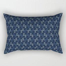 Abstract Indigo Blue Dye Bird Foot Print Rectangular Pillow