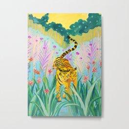 Tigers in Garden Metal Print