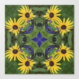 Blue Salvia Compass Points in a Ring of Rudbeckia Canvas Print
