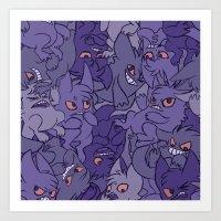 gengar Art Prints featuring Gengar invasion! by inki