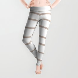 Rosy Mauve Pink, Blushing Bride, Cathedral Morning, Hand Drawn Horizontal Stripes on White Leggings