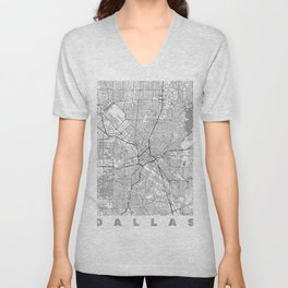 Dallas Map Line Unisex V-Neck