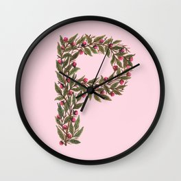 Leafy Letter P Wall Clock