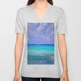 Art Of Caribbean Blue Sea Unisex V-Neck