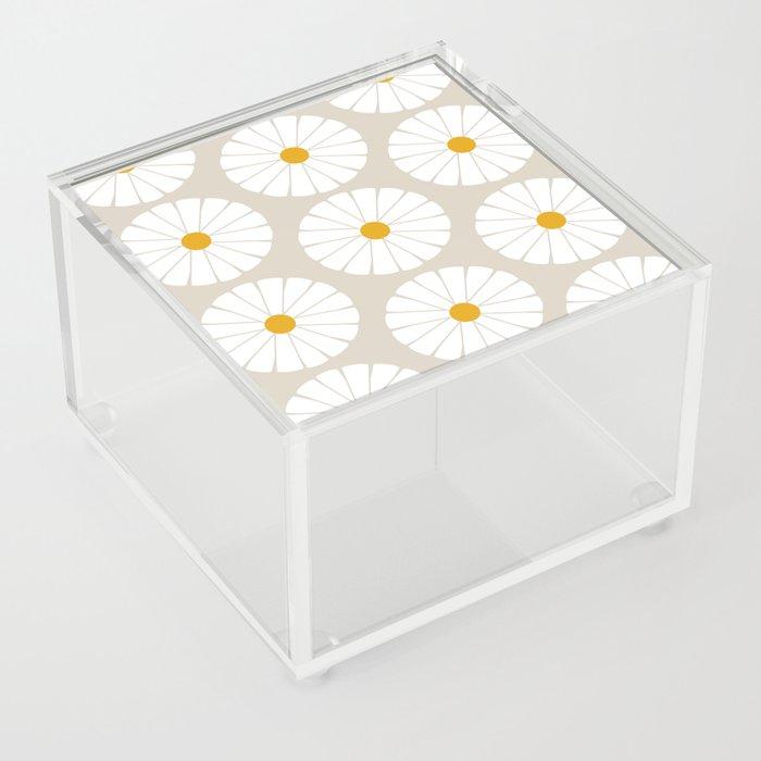 Minimal Botanical Pattern - Daisies Acrylic Box