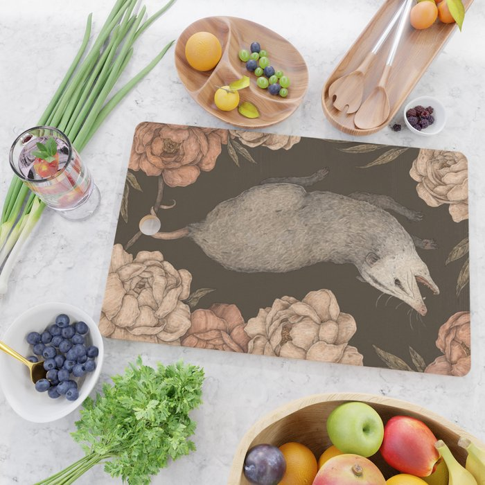 The Opossum and Peonies Cutting Board