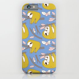 Sloth pattern in blue iPhone Case