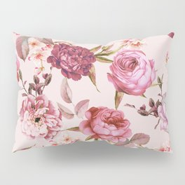 Blush Pink and Red Watercolor Floral Roses Pillow Sham