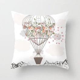 Air balloon with flowers and mountains. Fashion tripping illustration in vintage style Throw Pillow