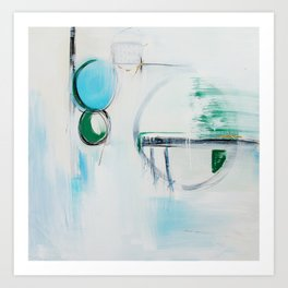 No. 12 Blue Emerald Ombre Pastel Abstract Painting  Art Print