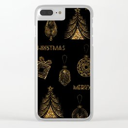 Christmas Golden pattern on black background. Clear iPhone Case
