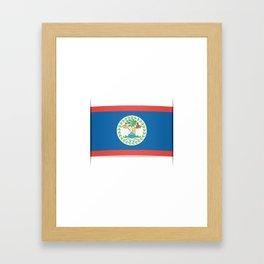 Flag of Belize. The slit in the paper with shadows. Framed Art Print