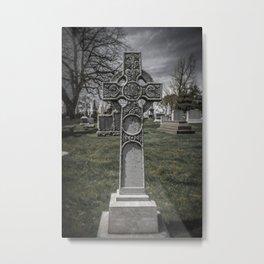Laurel Hill Cemetery Cross Grave Marker Gravestone Monument Celtic Metal Print