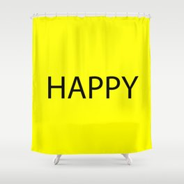 Happy Yellow Black Shower Curtain