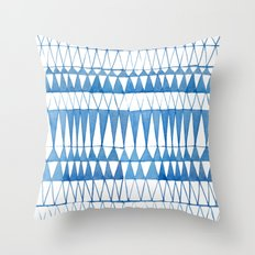 Indigo Triangle Pattern Throw Pillow