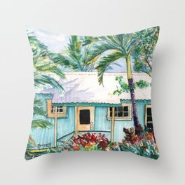 Tropical Vacation Cottage Throw Pillow