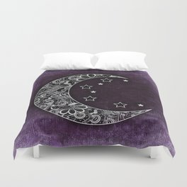 Purple Abstract Moon Duvet Cover