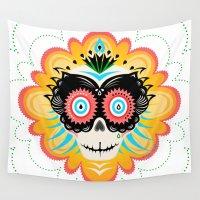 calavera Wall Tapestries featuring Dia de los Muertos Calavera  by ColletteMarie
