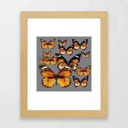 DECORATIVE BUTTERSCOTCH & TOFFEE BROWN BUTTERFLIES ART Framed Art Print
