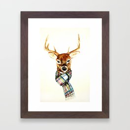 Deer buck with winter scarf - watercolor Framed Art Print