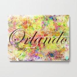 Downtown Orlando Canvas Text Metal Print