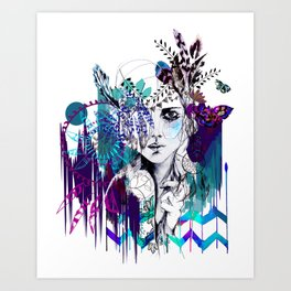 Tribal Girl - Colourway - Art Print