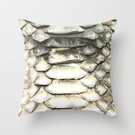 Iridescent White Gold Snake Throw Pillow