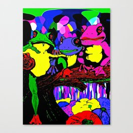 Frog Family and a Rainbow Waterfall Abstract Canvas Print