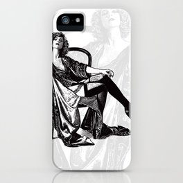 Retro Woman Wearing Vintage Lingerie and Drinking from Flask iPhone Case