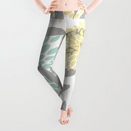 Floral Prints, Leaves and Blooms, Gray, Yellow and Aqua Leggings