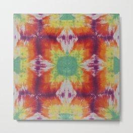 Kaleidoscope Fractal Tie Dye Green Yellow Orange Purple Metal Print