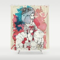 marie antoinette Shower Curtains featuring Marie Antoinette by Phie Hackett