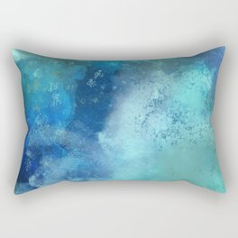 Abstract navy blue teal turquoise watercolor pattern Rectangular Pillow