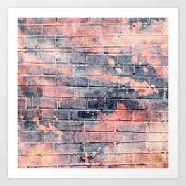 black and orange distressed painted brick wall ambient decor rustic brick effect + halloween Art Print
