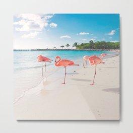 BEACH AND FLAMINGOS Metal Print