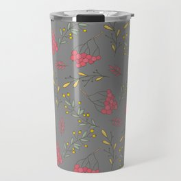 Fall magenta gold yellow mauve gray autumn floral Travel Mug