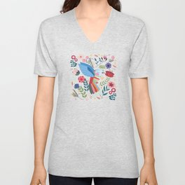 Folk Art Inspired Hummingbird With A Flurry Of Flowers Unisex V-Neck