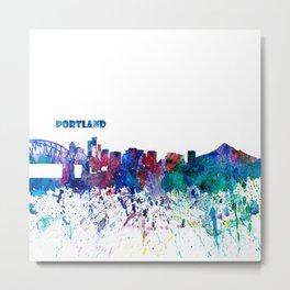 Portland Oregon Skyline Silhouette Impressionistic Blast Metal Print