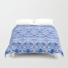 Watercolor blue indigo triangles Duvet Cover