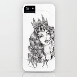 JennyMannoArt Graphite Drawing/Queen Isabella iPhone Case