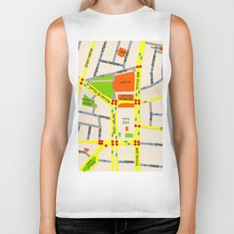 Tel Aviv map design - written in Hebrew Biker Tank